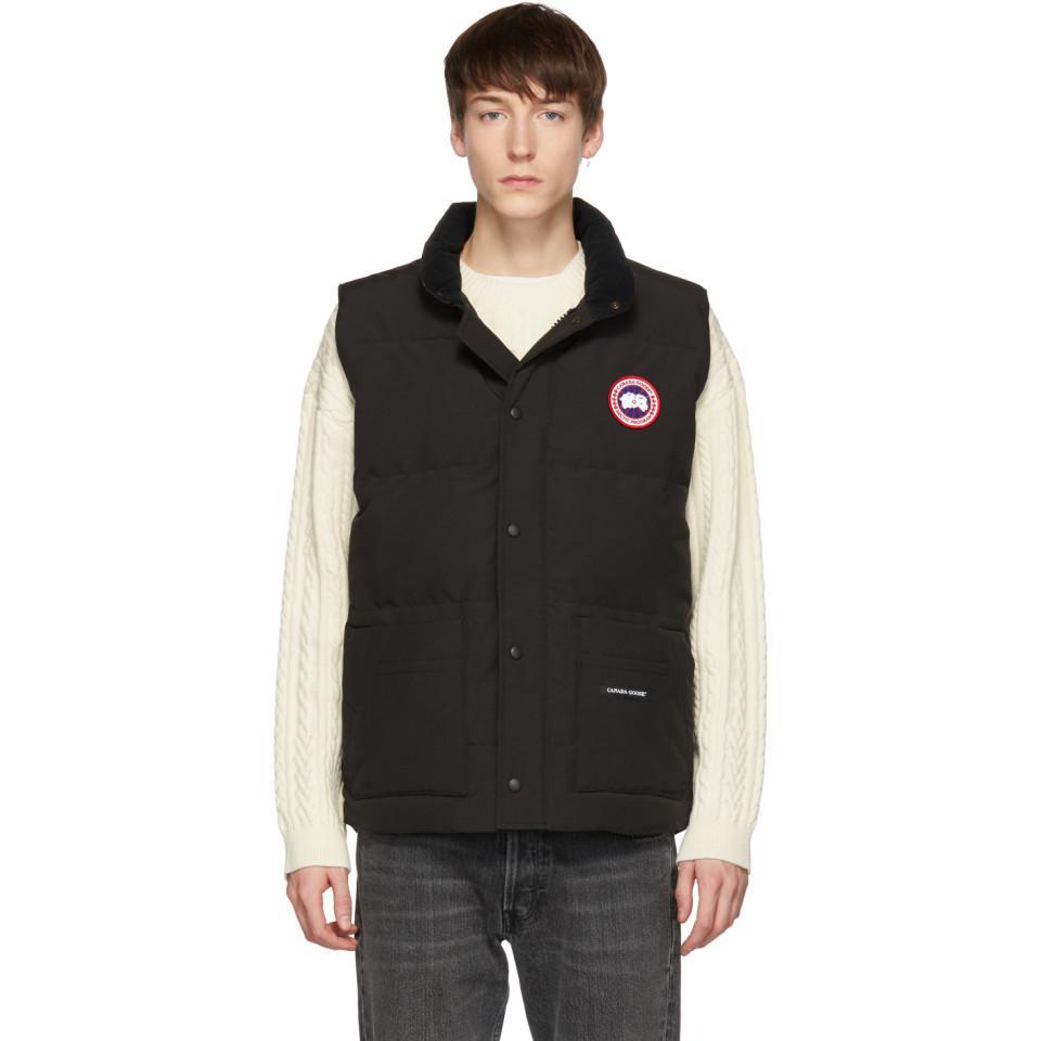 canada goose black down freestyle crew vest in black for men lyst rh lyst co uk