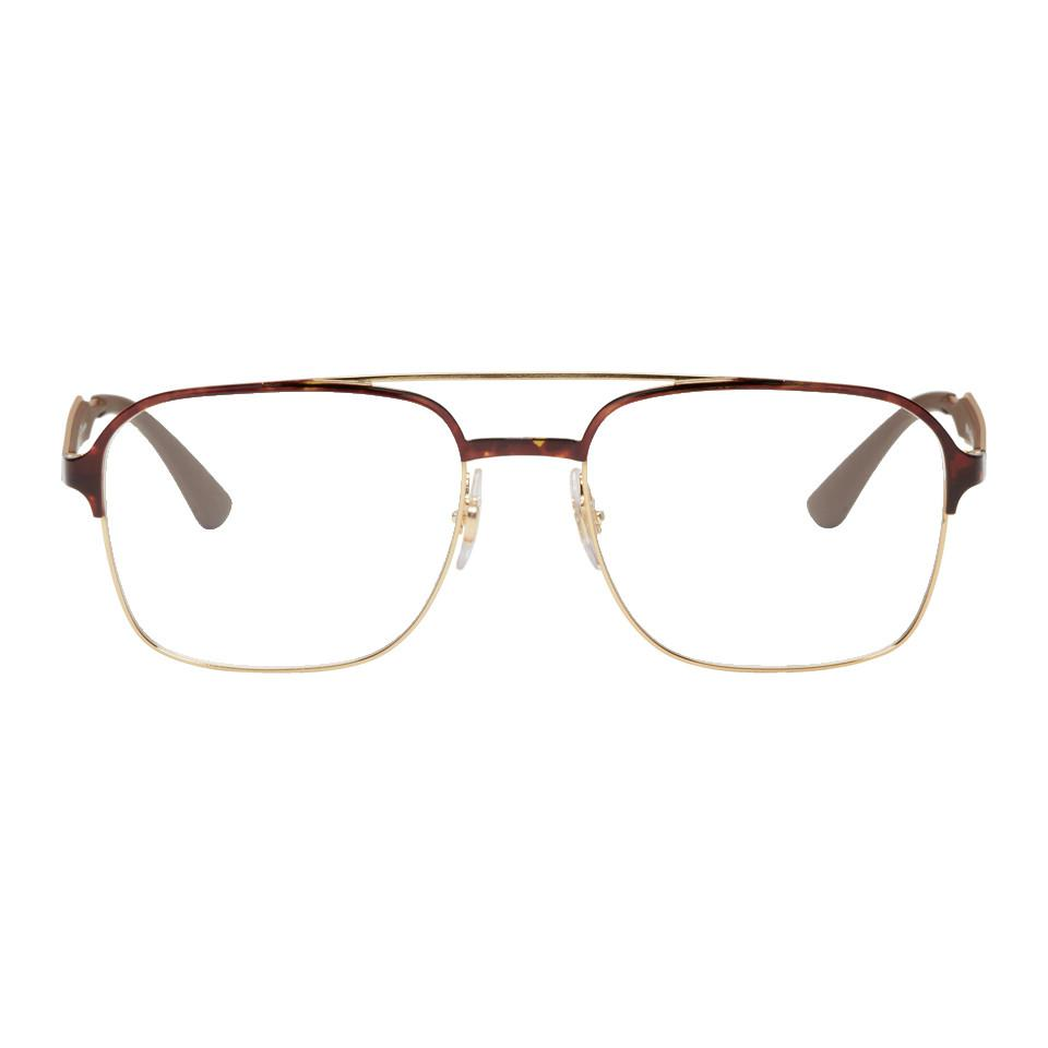 5ce63d542 Ray-Ban Gold Rx6404 Aviator Glasses in Metallic for Men - Lyst