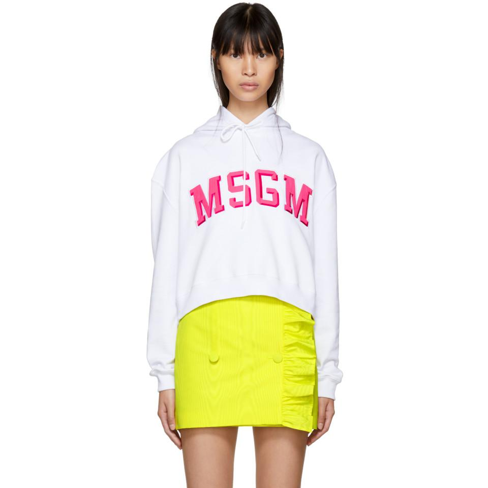 White Cropped College Logo Hoodie Msgm How Much Online zDsAcxu