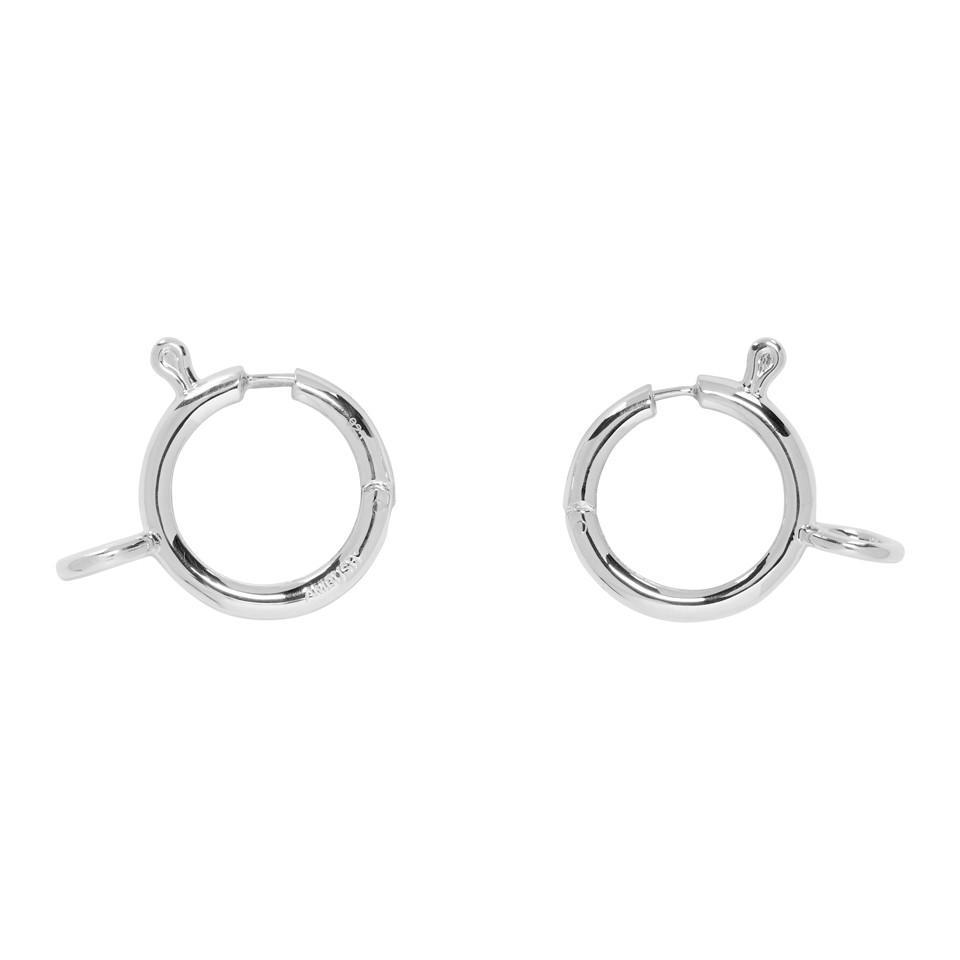 Ambush Women S Metallic Silver Clasp Hoop Earrings