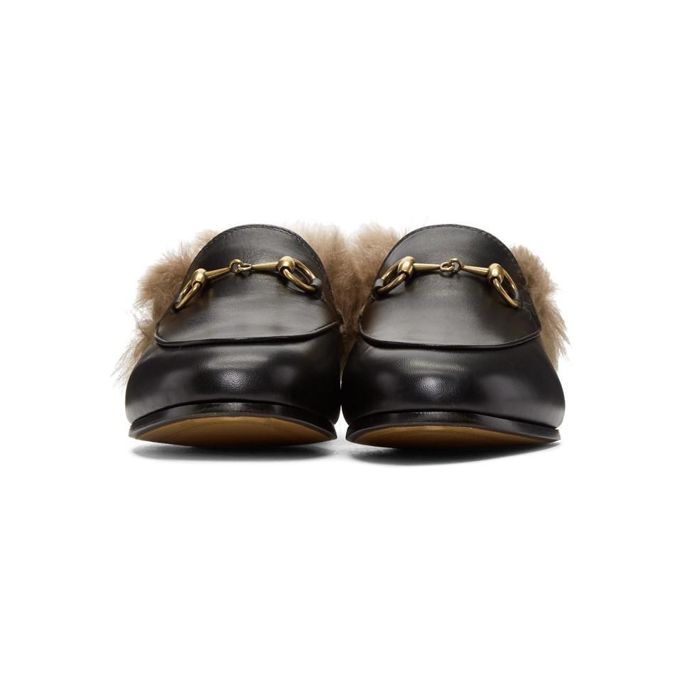 0710b4a0bfa Gucci - Black Jordaan Fur Slippers - Lyst. View fullscreen
