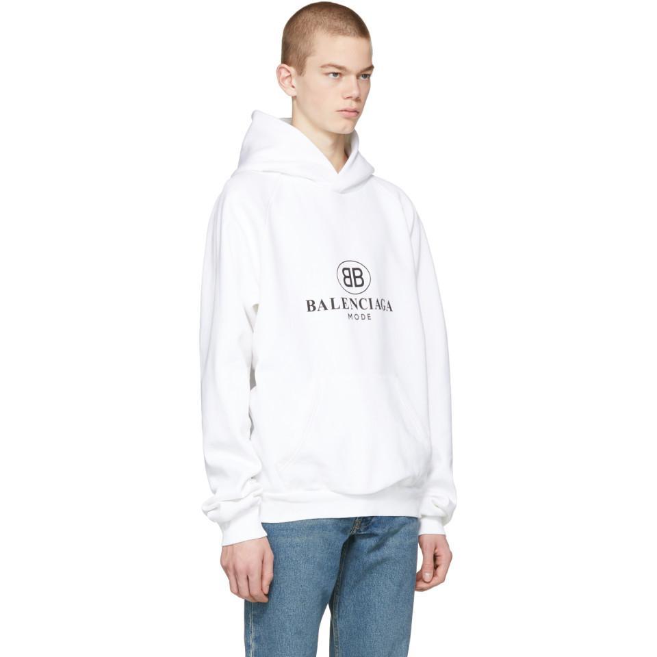 c70744e54ddc Balenciaga Bb Mode Hoodie in White for Men - Lyst
