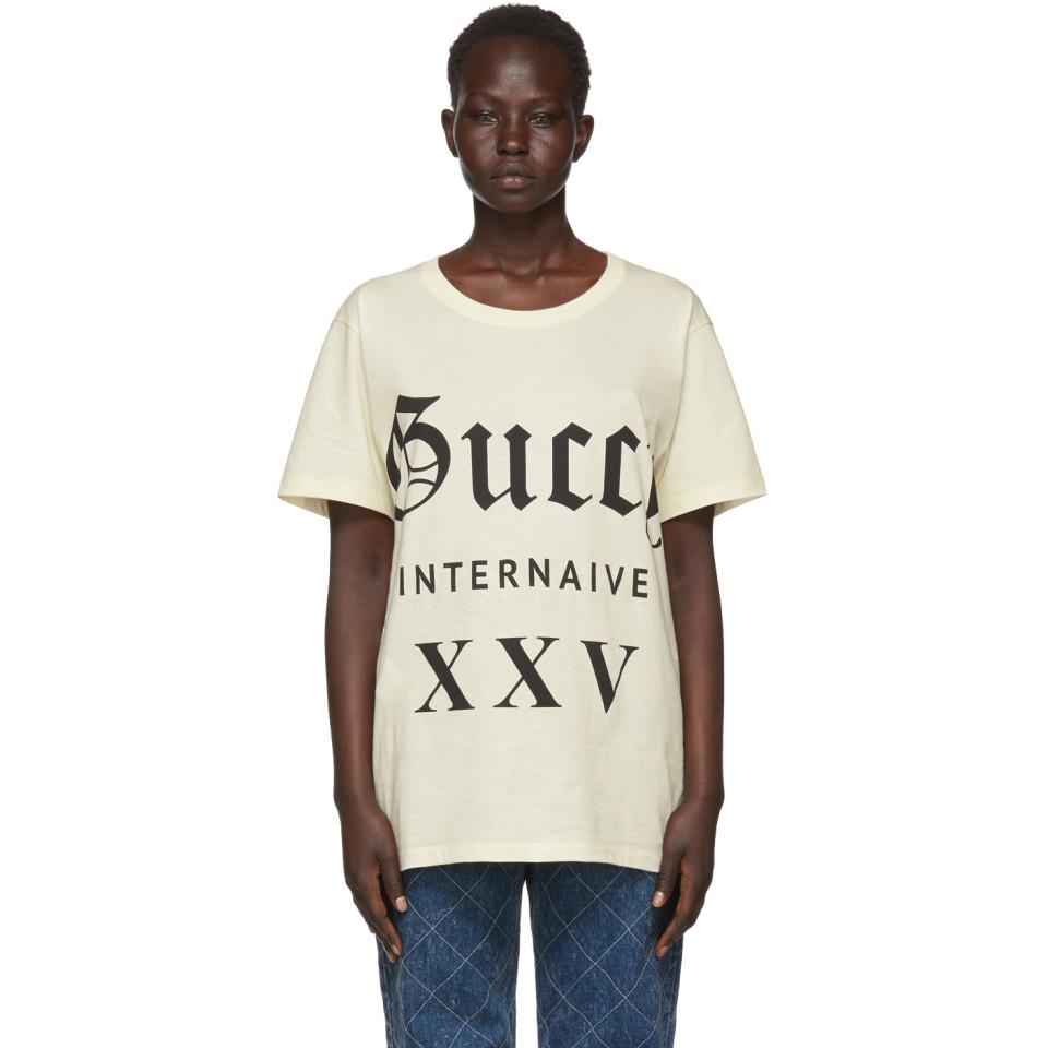 62a9552586e Gucci Beige Guccy Internaive Xxv T-shirt in Natural - Lyst