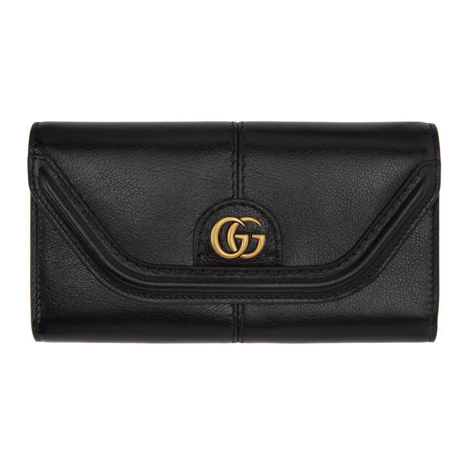 c4168369db96 Lyst - Gucci Black GG Default Flap Wallet in Black