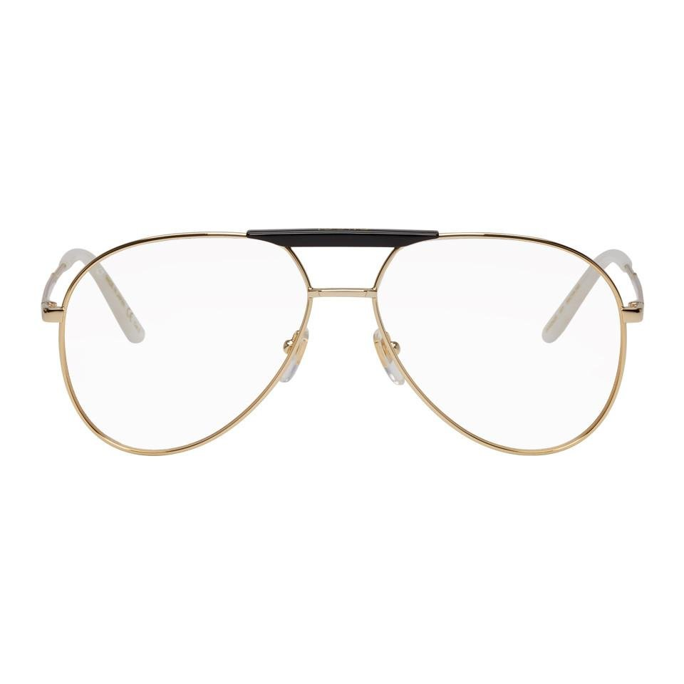 3a5bec73e3 Lyst - Gucci Gold And Black Cruise Pilot Glasses in Metallic for Men