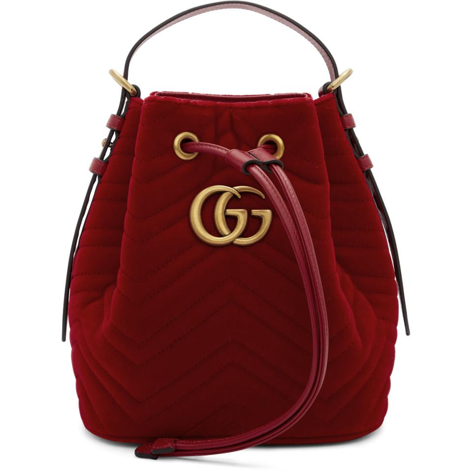 90c5295268d8 Gucci - Red Velvet GG Marmont 2.0 Bucket Bag - Lyst. View fullscreen