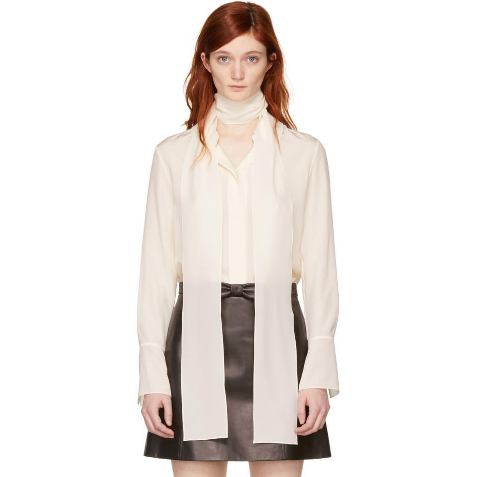 8712833fc5e9e Chloé Ivory Silk Bow Scarf Shirt in White - Lyst