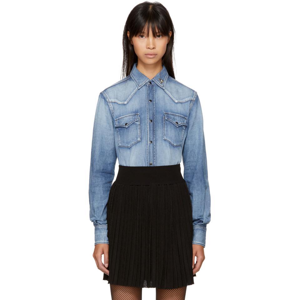 4a71da942 Saint Laurent Blue Denim Western Heart-studded Shirt in Blue - Lyst
