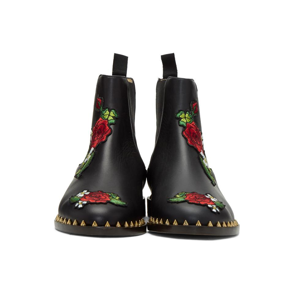 9a6bb9e0d Lyst - Charlotte Olympia Black Floral Studded Chelsea Boots in Black