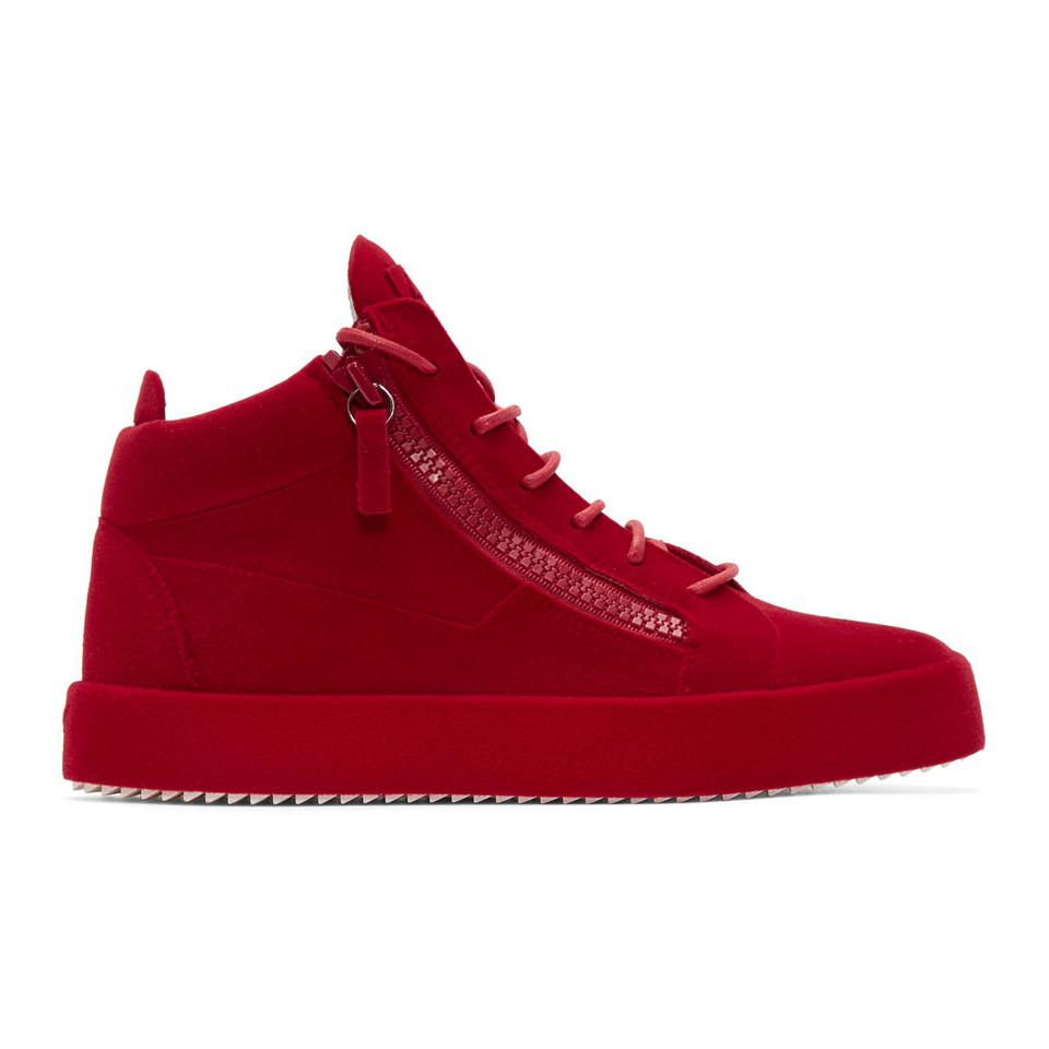 Giuseppe Zanotti Red Patent Croc May London High-Top Sneakers UpjyeZX0i1