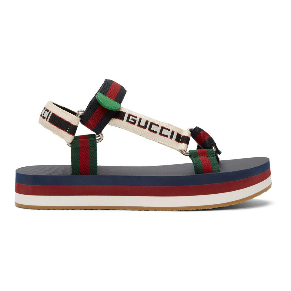 ccad3e4ff0b Lyst - Gucci Multicolor Bedlam Sandals in Blue for Men