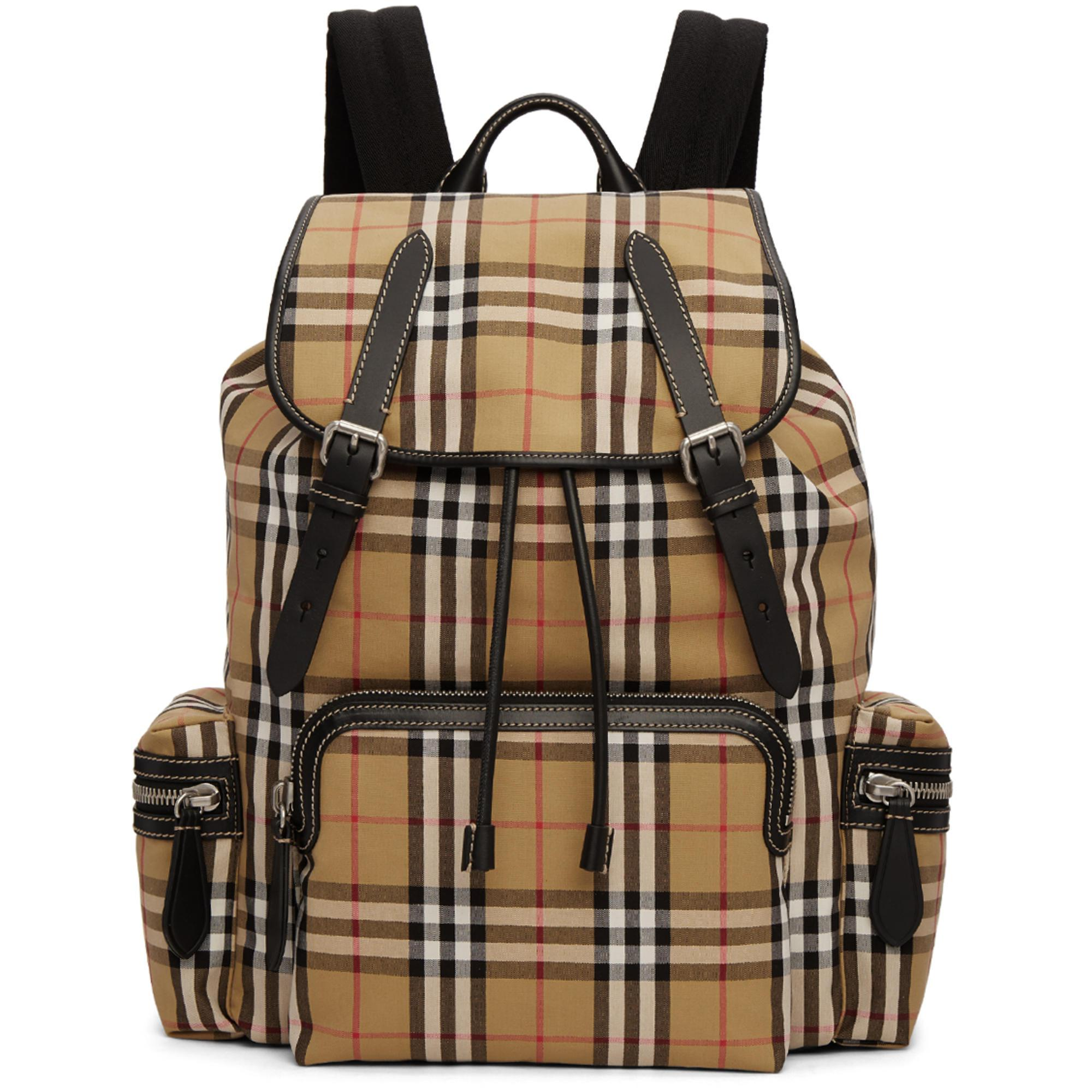 812a9339f12a Burberry Tan Check Rucksack for Men - Lyst