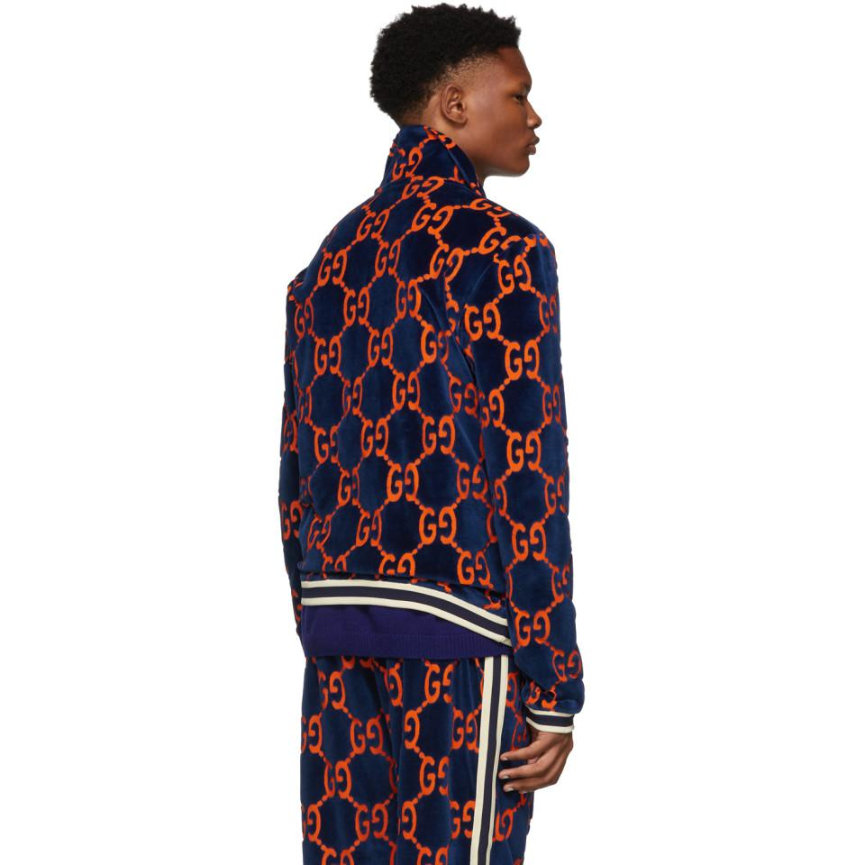 a713b8b76d7 Gucci Blue Chenille GG Supreme Track Jacket in Blue for Men - Lyst