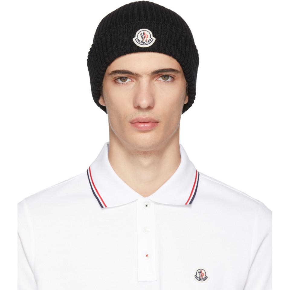 Moncler Black Extra Fine Wool Beanie for Men - Lyst 451f743b4b7