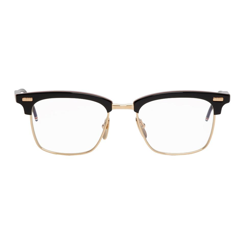 695f9b02743 Thom Browne Black And Gold Square Tb-711 Glasses for Men - Lyst