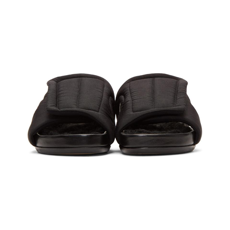 5712758489336 Lyst - Rick Owens Black Shearling Vicious Granola Slides in Black