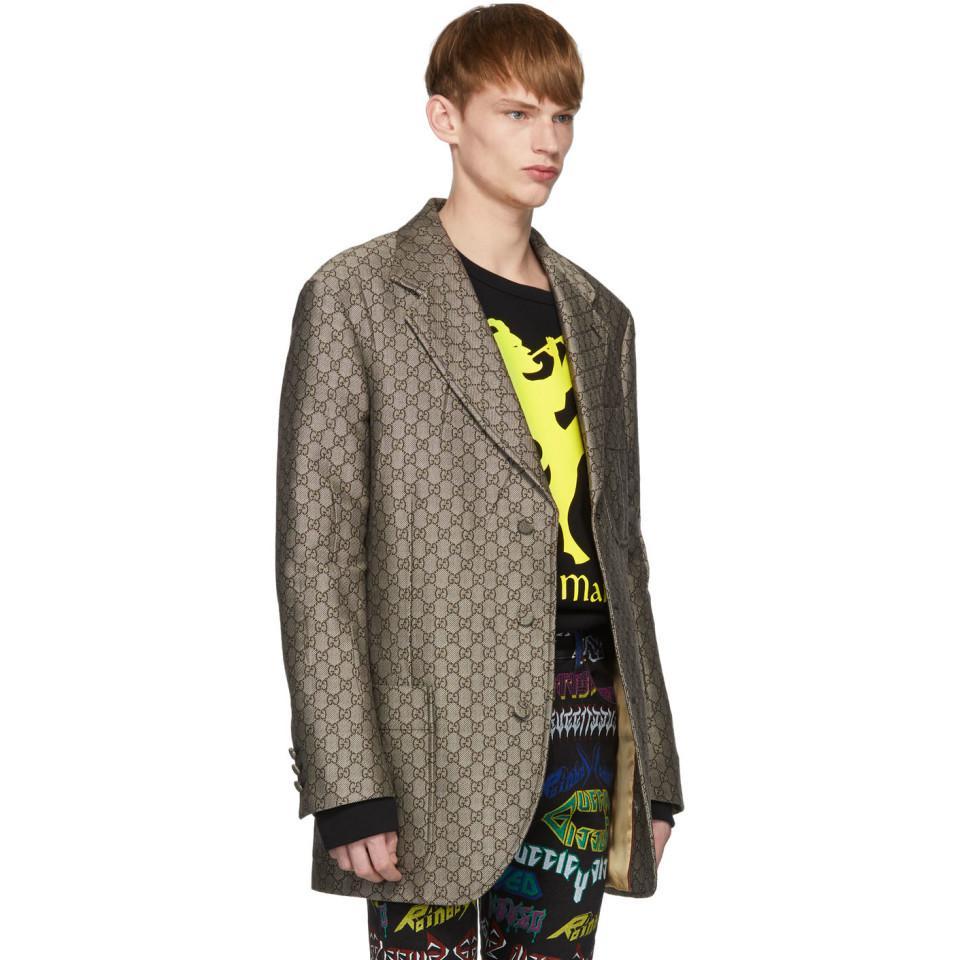 2c51a8eb8 Gucci - Brown And White GG Supreme Wool Blazer for Men - Lyst. View  fullscreen