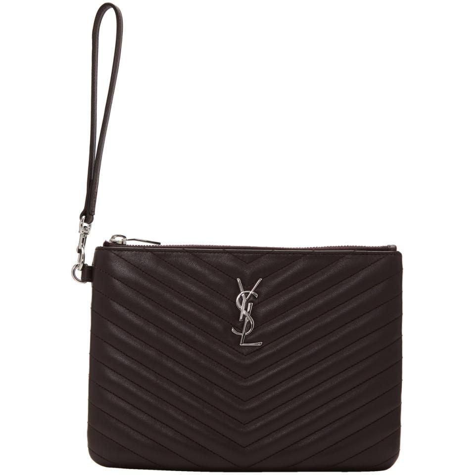 1a4029ce62 Saint Laurent Purple Quilted Monogram Pouch in Black - Lyst