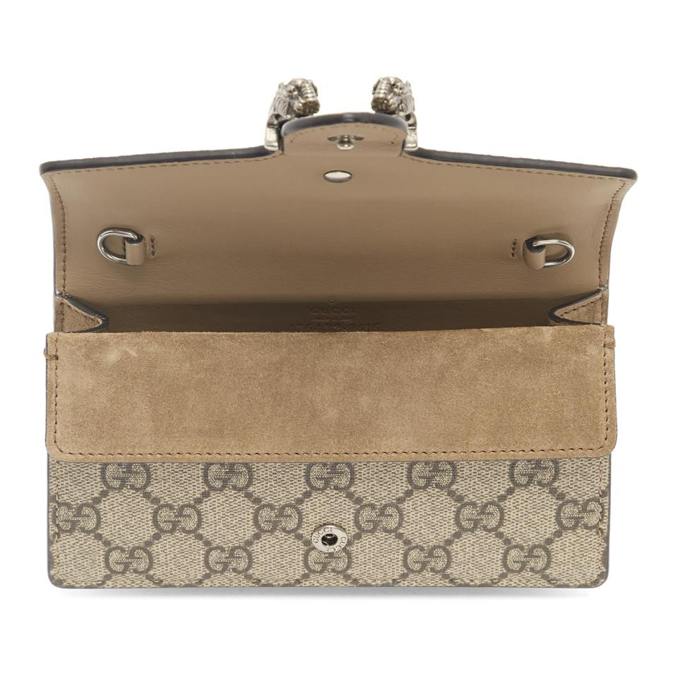 02a6011f68edb5 Gucci - Brown Beige GG Supreme Super Mini Dionysus Bag - Lyst. View  fullscreen