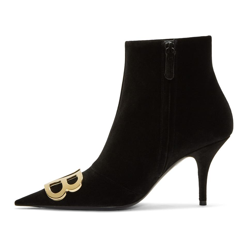 Black Velvet Logo Plaque Boots Balenciaga rkL2YStcv