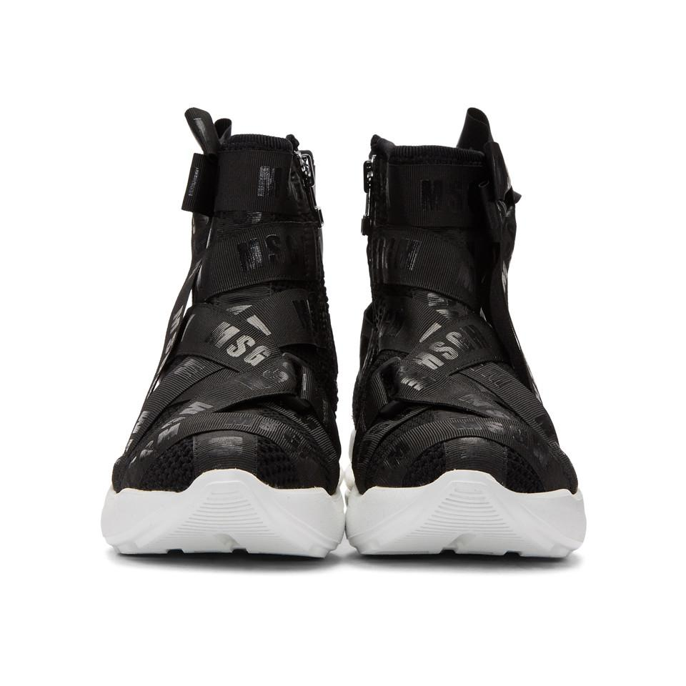 Msgm Mesh Logo Ribbons High-Top Sneakers ayWeXy