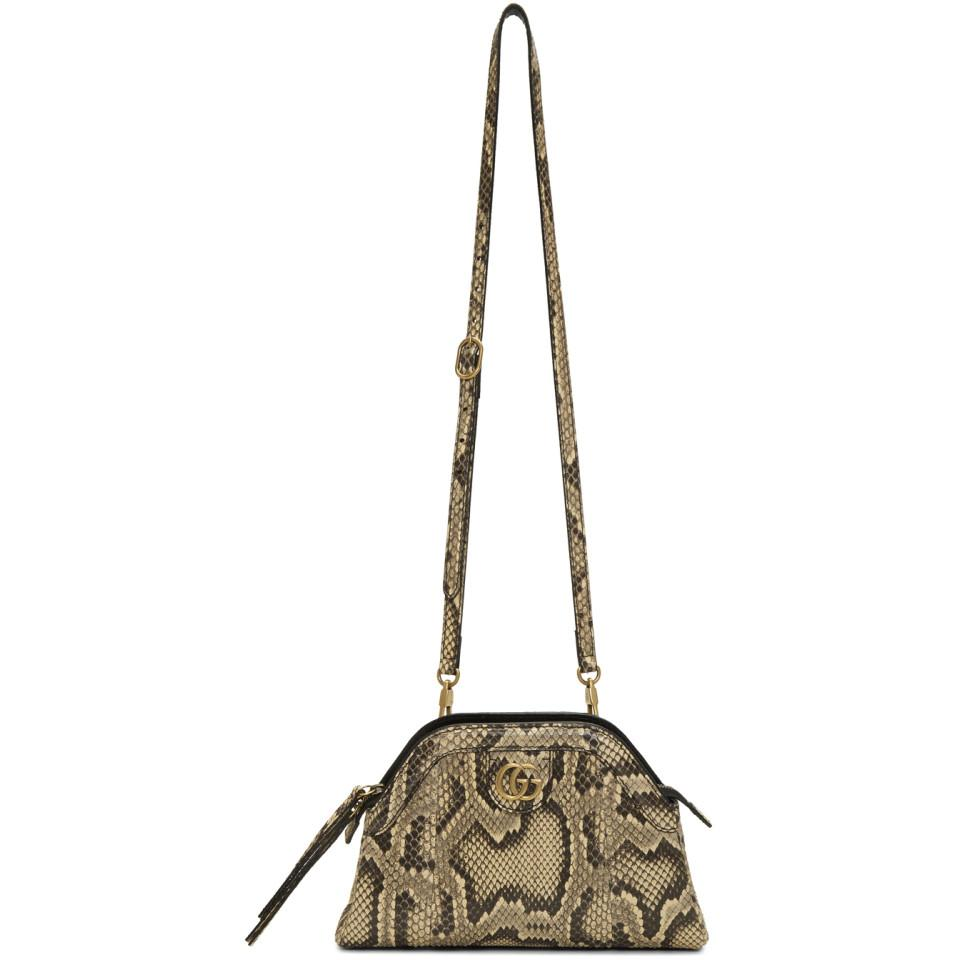 4807b7571583 Gucci Beige Python Rebelle Shoulder Bag in Natural - Lyst