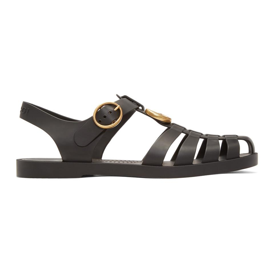 76cead9504a Gucci Black Glossy Rubber Sandals in Black for Men - Save 9% - Lyst