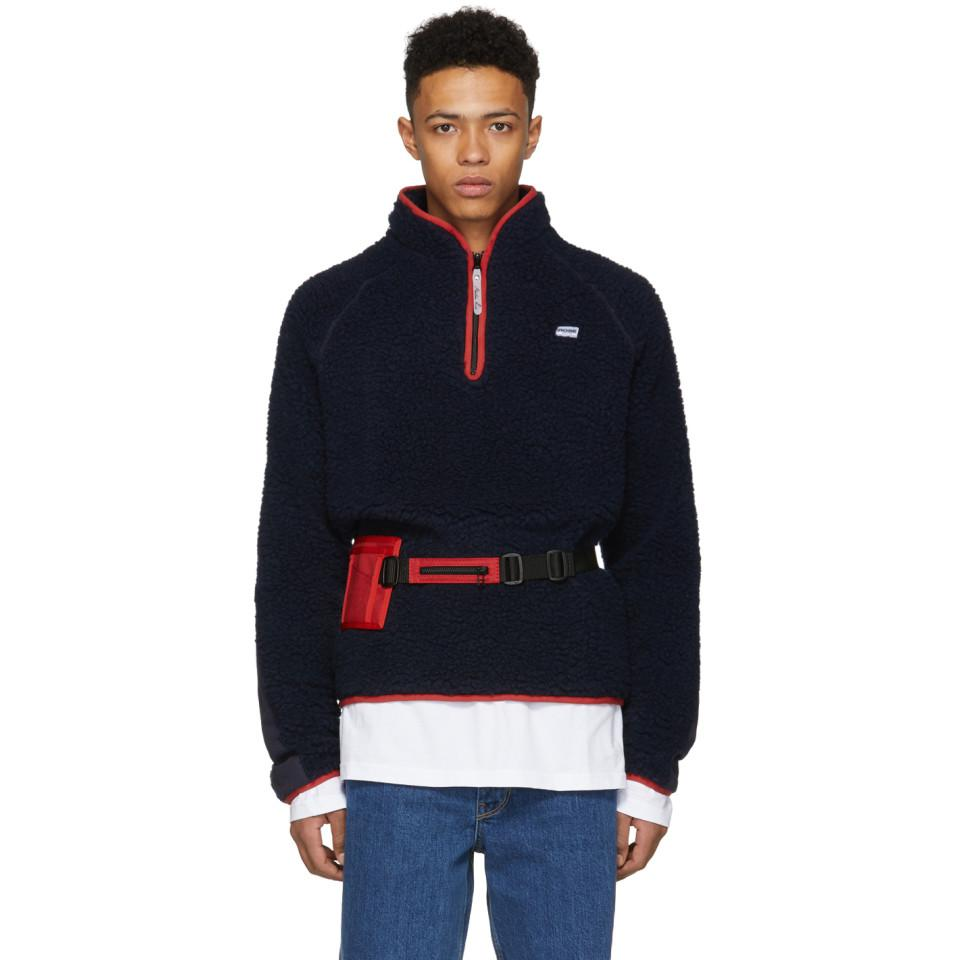 Navy Fleece Track Sweater Martine Rose 2018 For Sale Cheap Sale Fast Delivery Classic 6wo2cqu