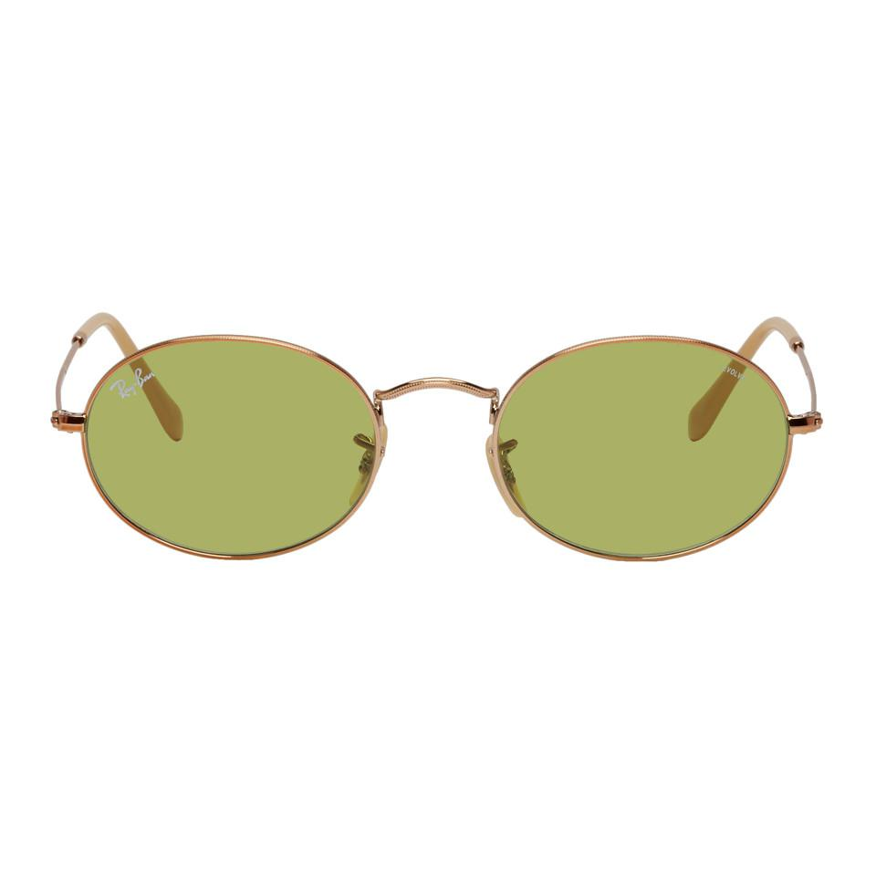 7cf75e6d81d Lyst - Ray-Ban Copper And Green Oval Evolve Sungalsses for Men