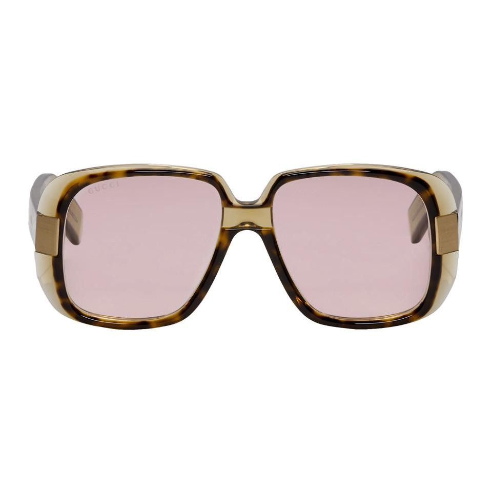 d0fc574bf30 Lyst - Gucci Tortoiseshell Oversized Cruise Square Sunglasses for Men