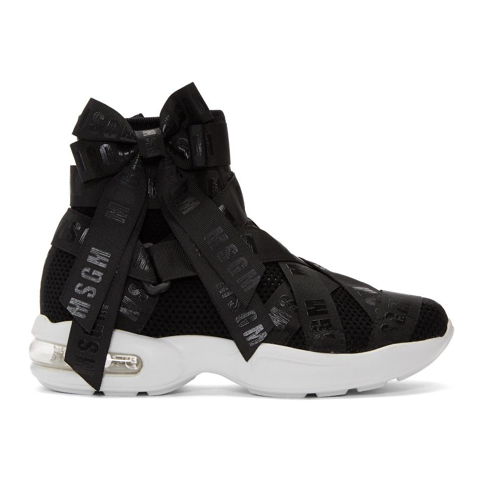 Black Mesh Logo Ribbons High-Top Sneakers Msgm glxR9Y2w24