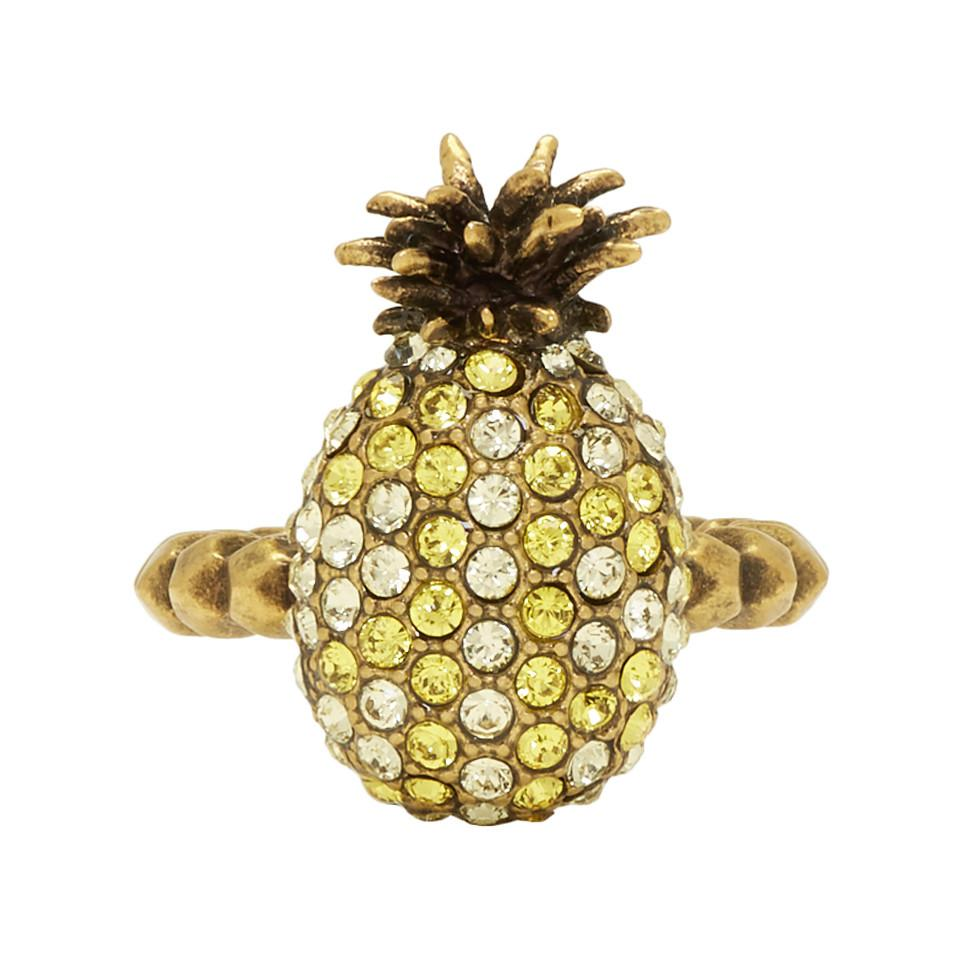 2a2e2b306 Gucci Yellow Small Crystal Pineapple Ring in Yellow - Lyst