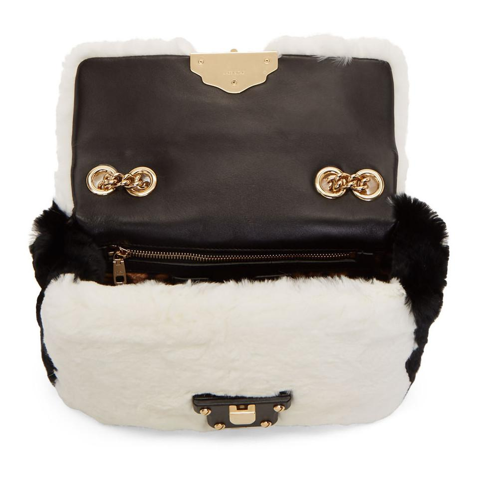 Lyst - Dolce   Gabbana White And Black Fur Lucia Bag in White f3e626e26ac56