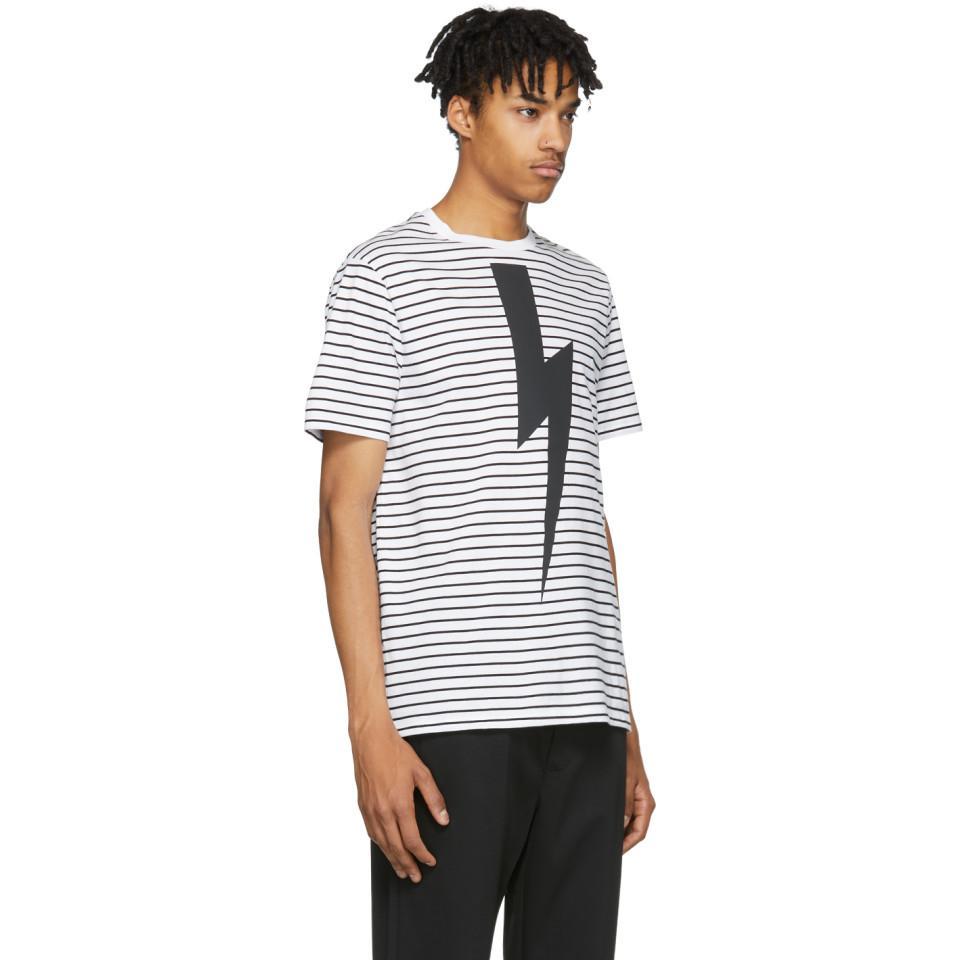 55c08d54 Neil Barrett - White And Black Striped Lightning Bolt T-shirt for Men -  Lyst. View fullscreen