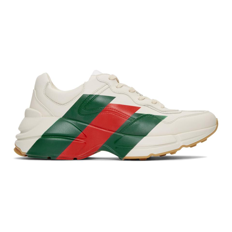 5e66ea7e581ad ... Stripes Rhyton Sneakers for Men - Lyst. View fullscreen