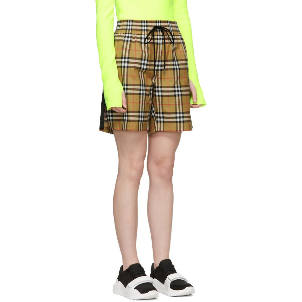 Lyst - Burberry Check Shorts W  Side Bands - Save 46% 594b36801b