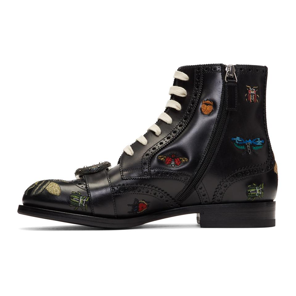 e1eb234b0 Gucci Black Queercore Insect Brogue Boots in Black - Lyst