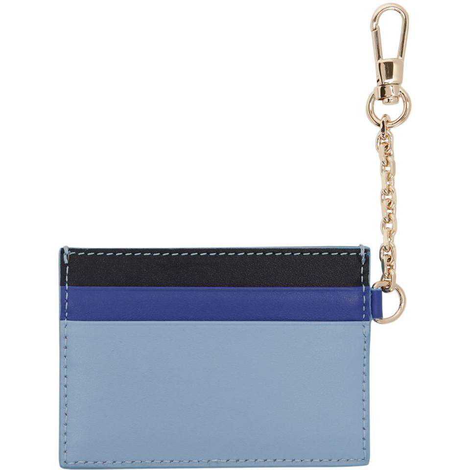 744224117a0 Versace Tricolor Chain Card Holder in Blue - Lyst