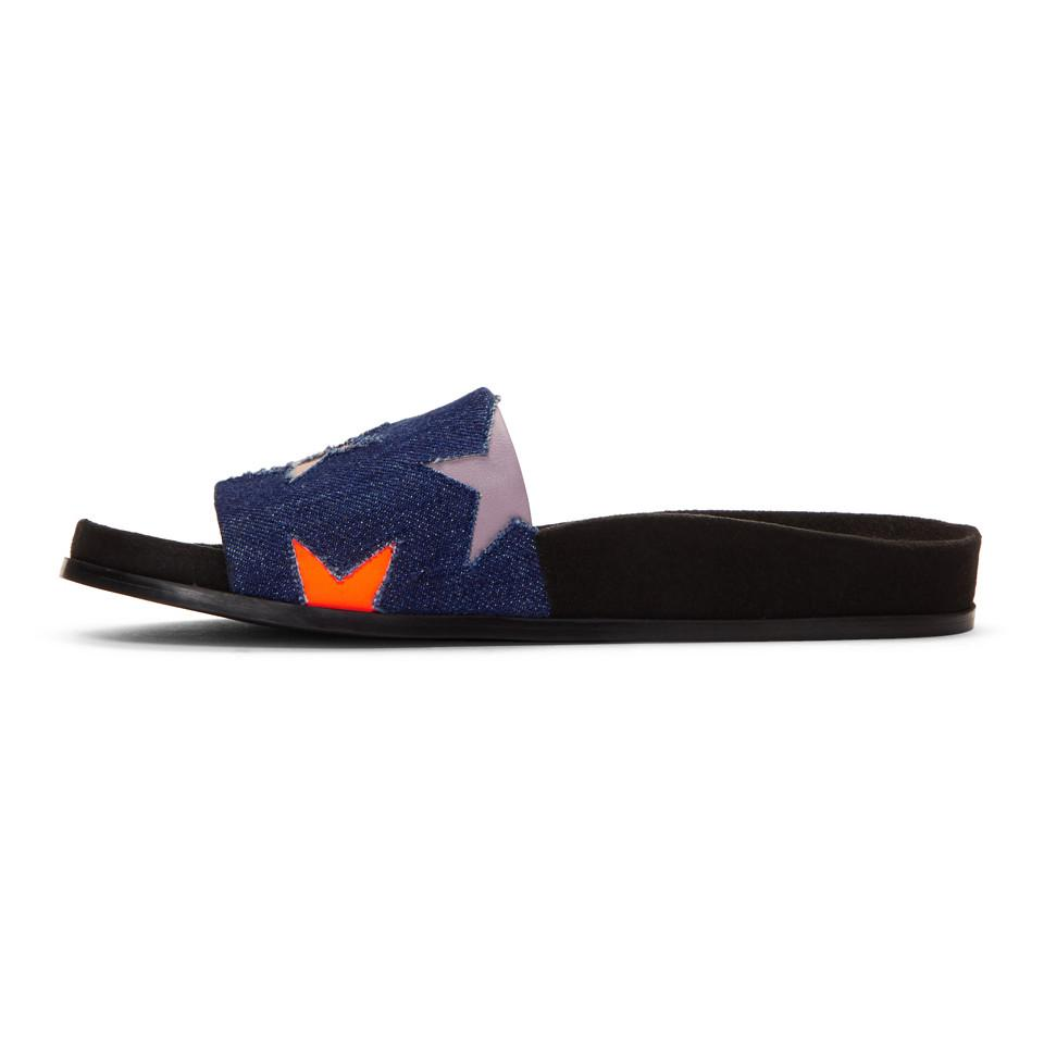 Stella McCartney Blue & Black Denim Star Slides PAhB8K