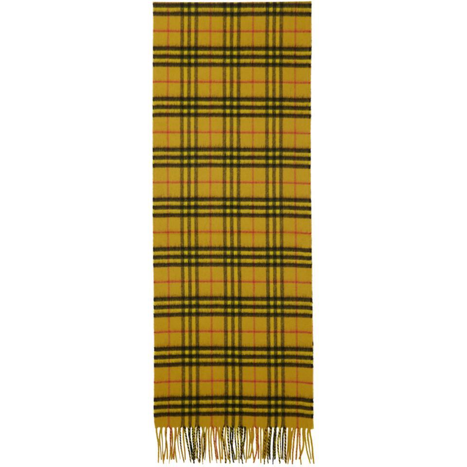 4d563b9711c Lyst - Foulard en cachemire jaune Vintage Check Burberry pour homme