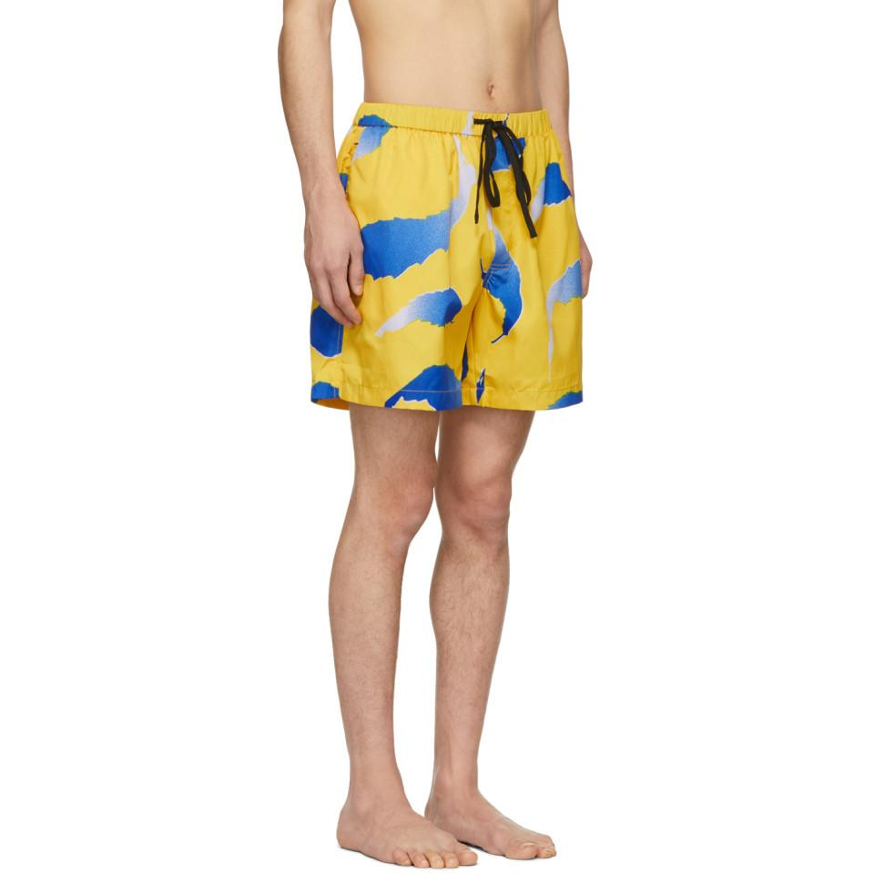 690d12d7e8727 DOUBLE RAINBOUU - Yellow And Blue Falling Flying Swim Shorts for Men -  Lyst. View fullscreen