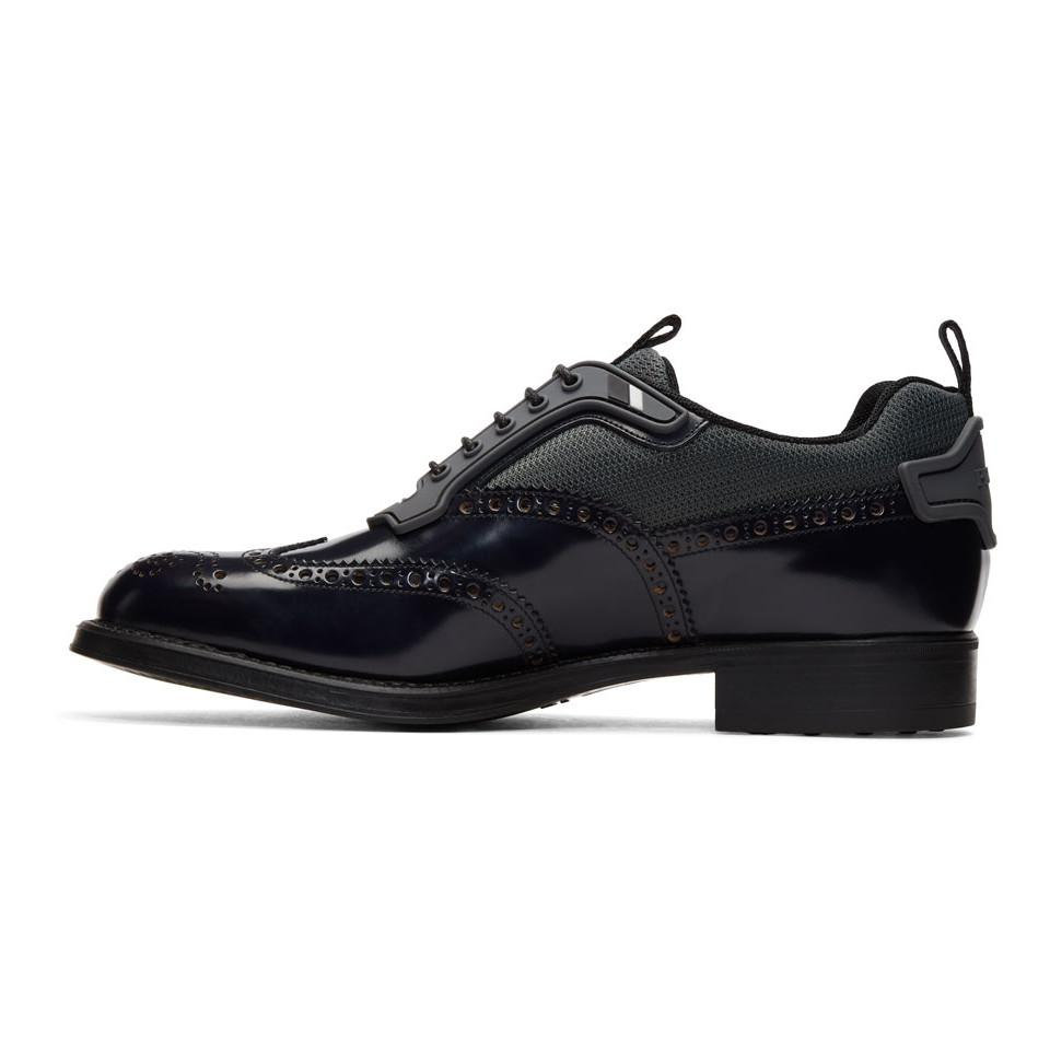 Black Leather and Nylon Brogues Prada 100% Original Cheap Online Free Shipping Footlocker Pictures For Cheap Discount IFwvpD