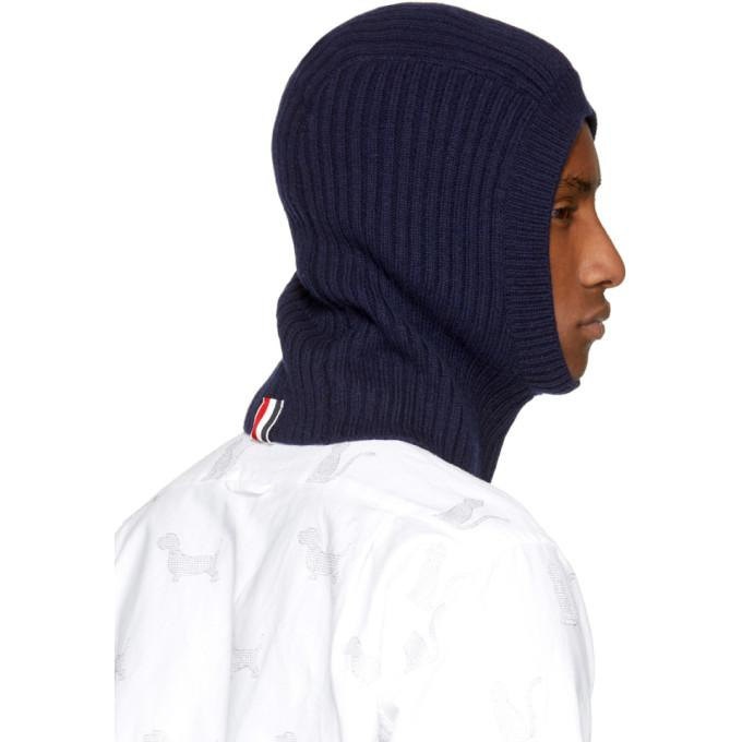 Lyst - Thom Browne Navy Rib Four Bar Balaclava in Blue for Men 75b5a3728cd6