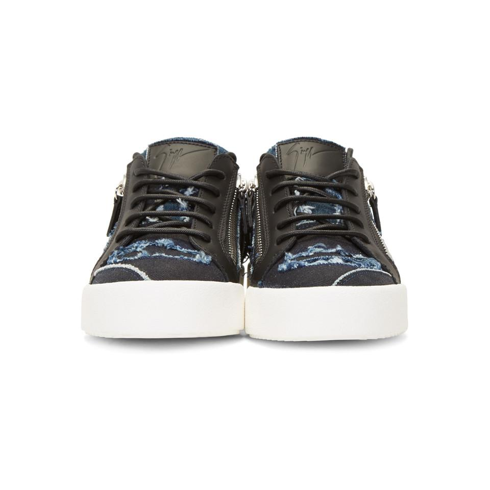 83279230f1a Giuseppe Zanotti - Blue And Black Denim Frankie Sneakers for Men - Lyst.  View fullscreen