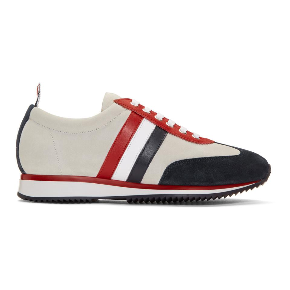 Thom Browne Off-White Suede Tricolor Stripe Sneakers