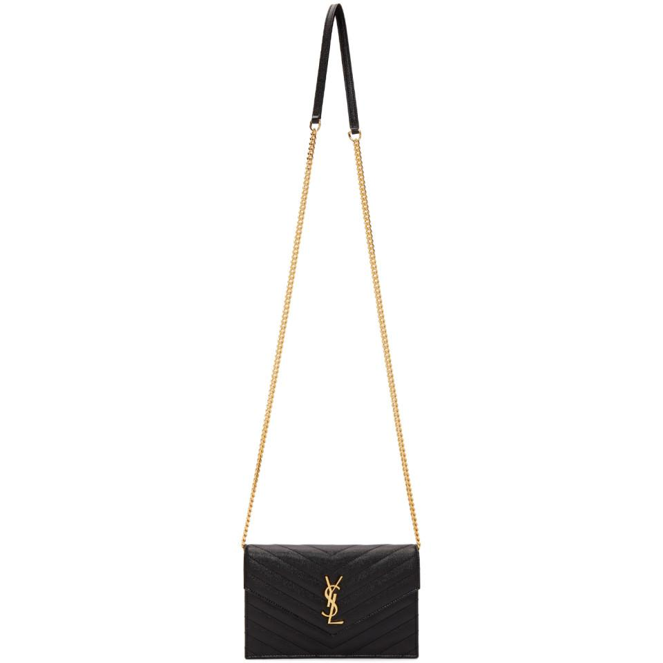 7bb70ae7c Saint Laurent Black And Gold Monogramme Envelope Chain Bag in Black ...