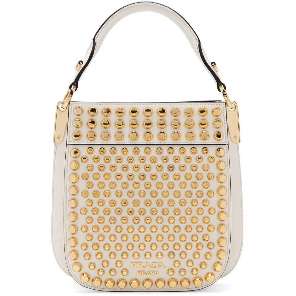 b0543b114e68 Prada - White Small Studded Margit Bag - Lyst. View fullscreen