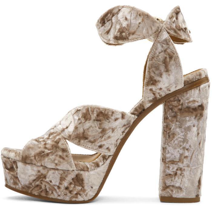 Chloé Pink Velvet Platform Sandals jdmjw5