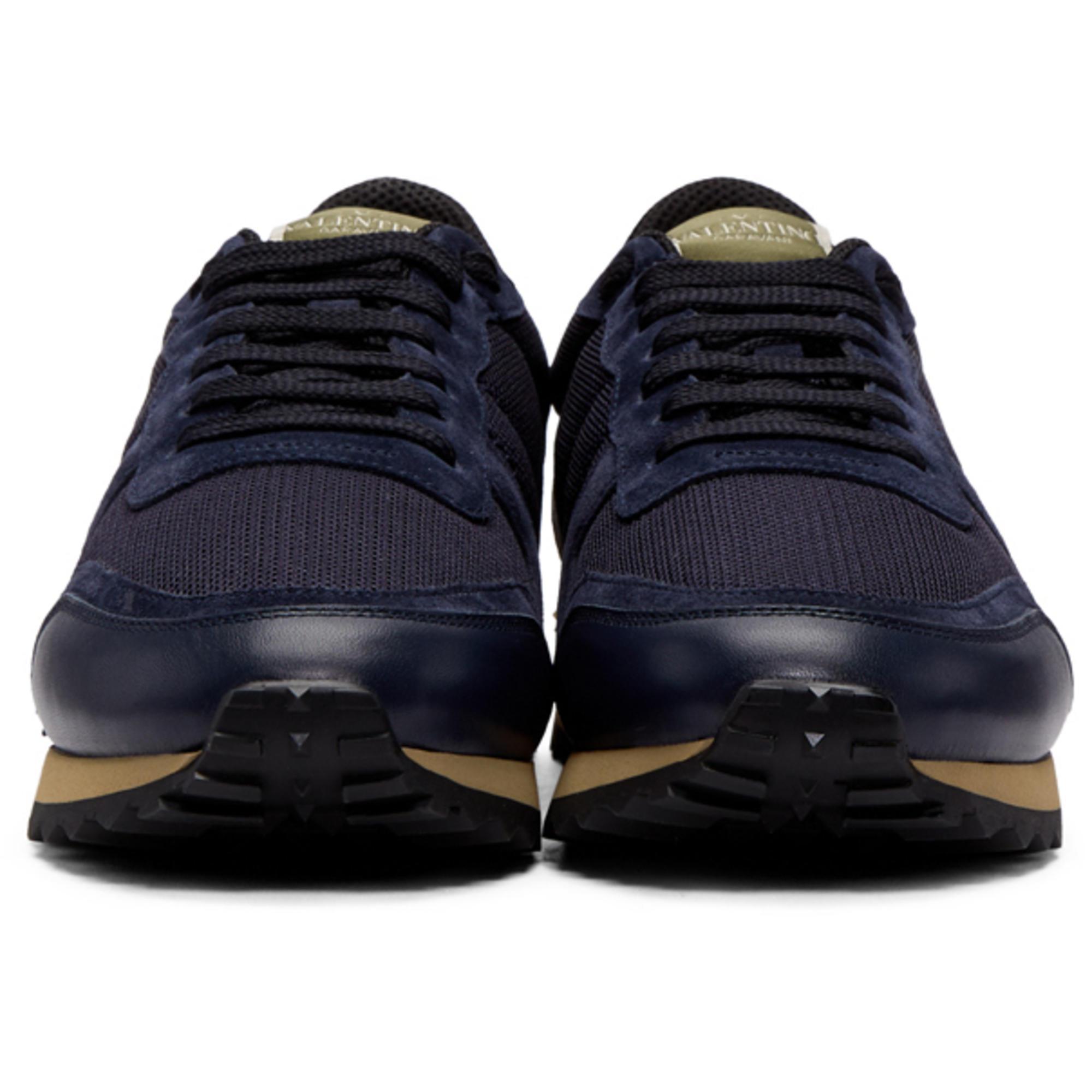 ab6045f0de9 Lyst - Valentino Navy Garavani Mesh Rockrunner Sneakers in Blue for Men