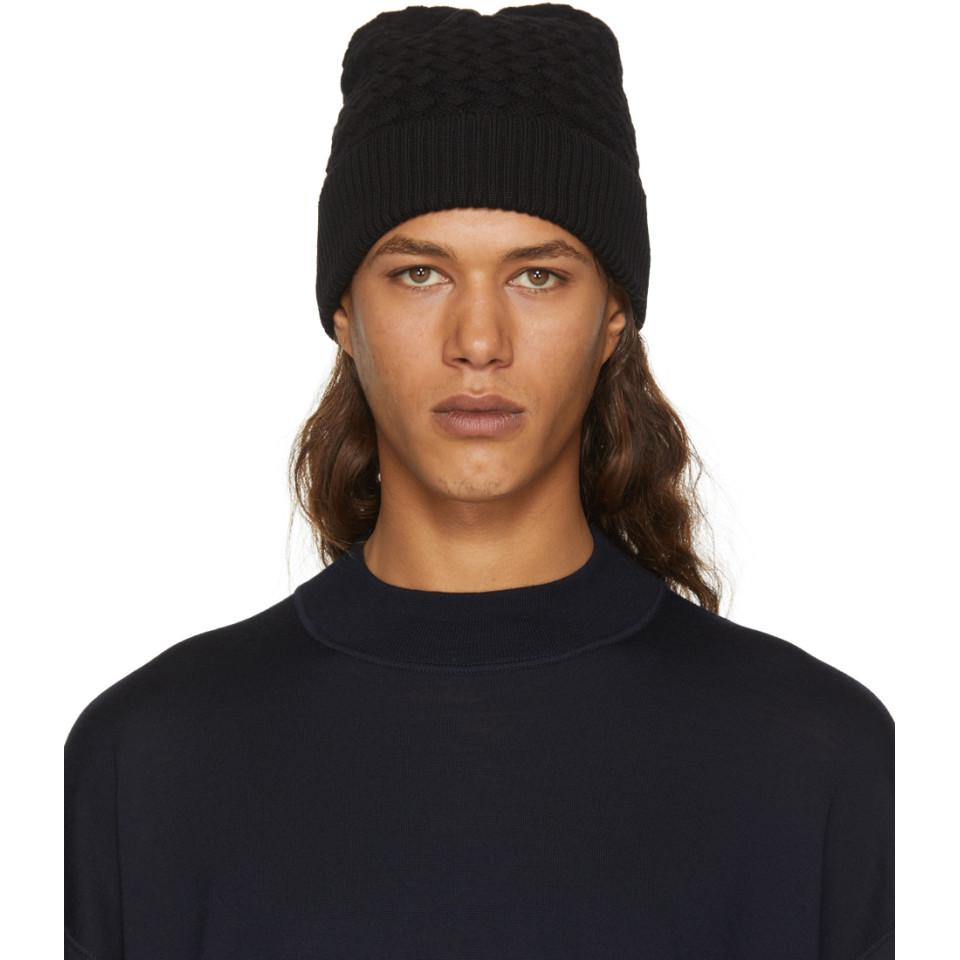 64e4aa48978 Lyst - Bottega Veneta Black Wool Amaranth Beanie in Black for Men